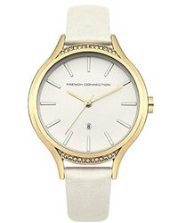 French Connection - Quartz Metal And Leather Casual Watch, Color:white (model: Fc1292wg) - Lyst