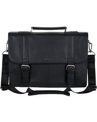 "Ben Sherman - Leather Double Compartment Flapover 15"" Computer Case Business Portfolio Laptop Briefcase - Lyst"