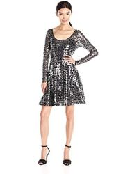 Plenty by Tracy Reese - Dresses Audriana Long Sleeve Scoop Fit & Flare Dress - Lyst