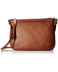 Calvin Klein - Small Key Item Pebble Leather Crossbody - Lyst