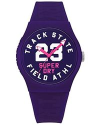 Superdry - 'urban' Quartz Plastic And Silicone Casual Watch, Color:purple (model: Syl182vv) - Lyst