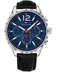 Tommy Hilfiger - Gavin Stainless Steel Quartz Watch With Leather Calfskin Strap, Black, 20 (model: 1791468 - Lyst