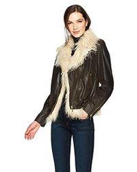 True Religion - Faux Fur Leather Moto Jacket - Lyst