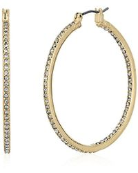 "Kenneth Cole - ""shiny Gold Items"" Gold And Crystal Medium Hoop Earrings - Lyst"