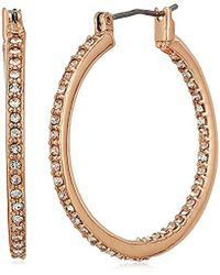 "Kenneth Cole - ""rose Gold Items"" Rose Gold And Crystal Small Hoop Earrings - Lyst"