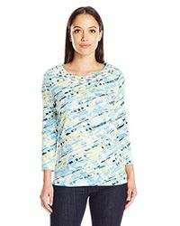 Rafaella - Petite Size Clouded Bias Stripe Cotton Top - Lyst