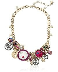 "Betsey Johnson - Harlem Multi-charm And Pearl Frontal Necklace, 17"" + 3"" Extender - Lyst"