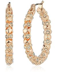 T Tahari - S Pastel Party Hoop Earrings With Stones, Rose Gold, One Size - Lyst