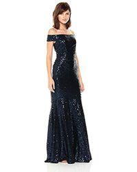 Badgley Mischka - Off Shoulder Sequin Gown - Lyst