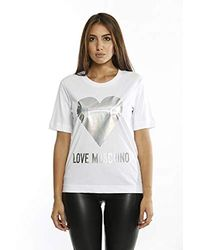 Love Moschino - Regular Fit Short Sleeve T-shirt_iridescent Foil Heart & Logo Print - Lyst