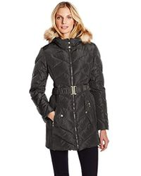 Jessica Simpson - Hooded Down Coat With Belt - Lyst