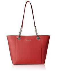 Calvin Klein - Hayden Saffiano Leather East/west Tote - Lyst