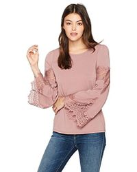 Adrianna Papell - Crew Neck Long Bell Sleeve Knit Crepe With Lace Detail - Lyst