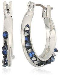 Kenneth Cole - Blue Sprinkle Stone Small Hoop Earrings - Lyst