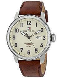 Tommy Hilfiger - 'jasper' Quartz Stainless Steel And Leather Casual Watch, Color Brown (model: 1791315) - Lyst