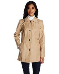 Anne Klein - Single-breasted Trench Coat With Clasp Closure - Lyst