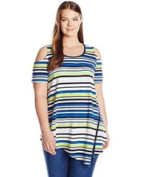 Rafaella - Plus Size Striped Cold Shoulder Top With Snaps - Lyst