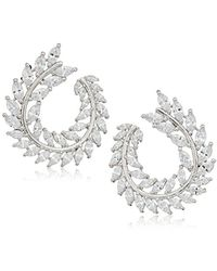 Nina - S Front To Back Fern Hoop Earrings - Lyst