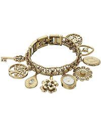 Anne Klein - 10-8096chrm Swarovski Crystal Accented Gold-tone Charm Bracelet Watch - Lyst