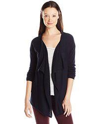 Izod - Junior's Uniform Drape Front Cardigan Sweater - Lyst