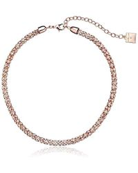 """Anne Klein - Classic Rose Rose Gold Tone Crystal Tubular Strand Necklace, 16"""" - Lyst"""