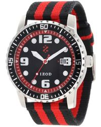 Izod - Quartz Stainless Steel And Canvas Casual Watch, Color:red (model: Izs3/9 Red) - Lyst