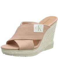 Calvin Klein - Layla Canvas Open Toe Heels - Lyst