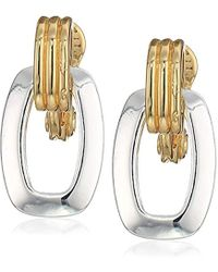 Anne Klein - Gold-silver Tone Clip Earrings - Lyst