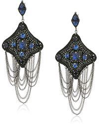 Steve Madden - Casted Curb Tassel Geo Post Drop Earrings, Blue - Lyst