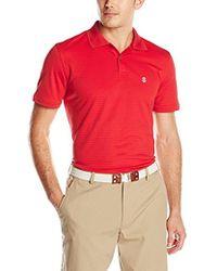 Izod - Short Sleeve Textured Stripe Golf Polo, Captain Blue, - Lyst