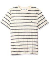 Lacoste - Short Sleeve Stripe Cotten/linen Reg Fit T-shirt, Th3248 - Lyst