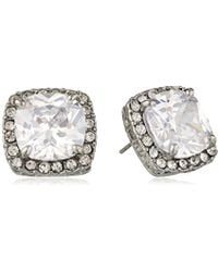 "Betsey Johnson - ""cz Ears"" Crystal Cubic Zirconia Square Stud Earrings - Lyst"