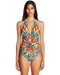 Kenneth Cole - Plunge Front Twist Halter One Piece Swimsuit - Lyst