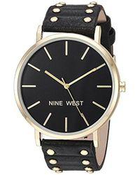 Nine West - Nw/2056bkbk Gold-tone And Black Strap Watch - Lyst
