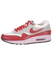 Air Max 1 Sail, Hyper Red, Grey Mesh Trainer Size 6.5 Uk