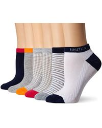 Nautica - Dotted Line Texture 6pp Fashion No Show Socks - Lyst
