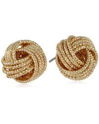 Nine West - Chain Gang Knot Button Earrings - Lyst