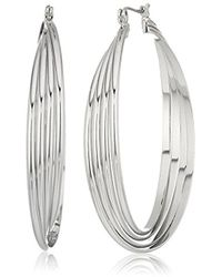 Kenneth Cole - Kenneth Cole New Trinity Rings Silver Large Twisted Hoop Earrings - Lyst