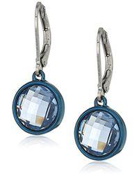 Anne Klein - Hematite Leverback Stone Drop Earrings - Lyst