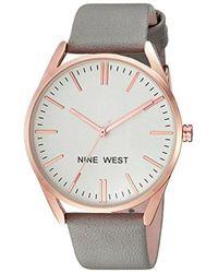 Nine West - Rose Goldtone And Grey Strap Watch - Lyst