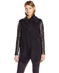 Mackage - Vane Wool Jacket With Leather Sleeves - Lyst