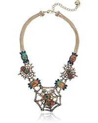 Betsey Johnson - Halloween Gold And Hematite Spider Web Frontal Necklace - Lyst