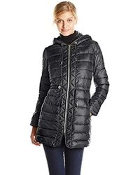 Kenneth Cole - Packable Puffer Coat With Cinch Waist - Lyst