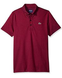 Lacoste - Short Sleeve Jersey Caviar Print With Button Front Placket Polo, Dh3385 - Lyst