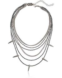 King Baby Studio - Studio S Multi Layered Necklace W/hematite, Silver Chain & Spikes - Lyst