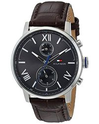 Tommy Hilfiger - 'alden' Quartz Stainless Steel And Leather Casual Watch, Color Brown (model: 1791309) - Lyst