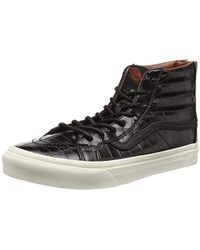 69d3ca4447 Vans Womens Black Croc Leather Sk8-hi Slim Trainers in Black - Lyst