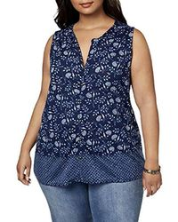 087141c5d8613b Lyst - Lucky Brand Plus Size Boro Patchwork Tank Top in Blue