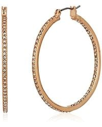 "Kenneth Cole - ""rose Gold Items"" Rose Gold And Crystal Medium Hoop Earrings - Lyst"