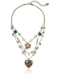 Betsey Johnson - Weave And Sew Woven Mixed Multi-colored Bead Flower Heart Illusion Necklace - Lyst